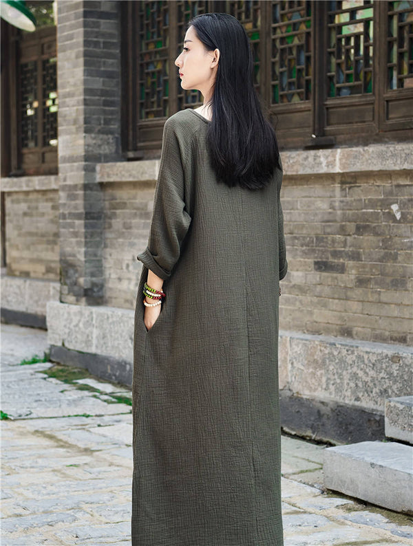 Women Retro Round Neck Long-sleeved Cotton and Linen Dress
