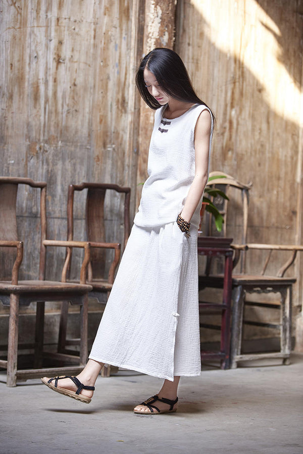 Women Simple Linen and Cotton Wrinkle Maxi Skirt