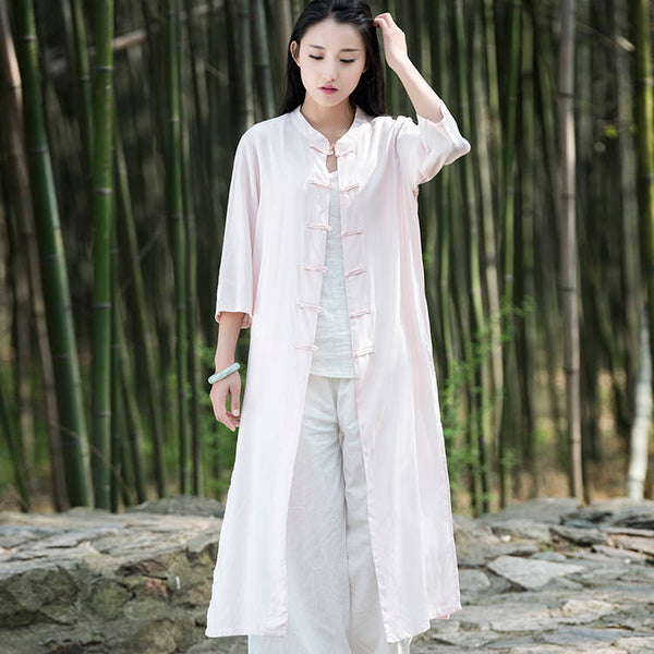 Women Asian KungFu Style Linen and Cotton Coat