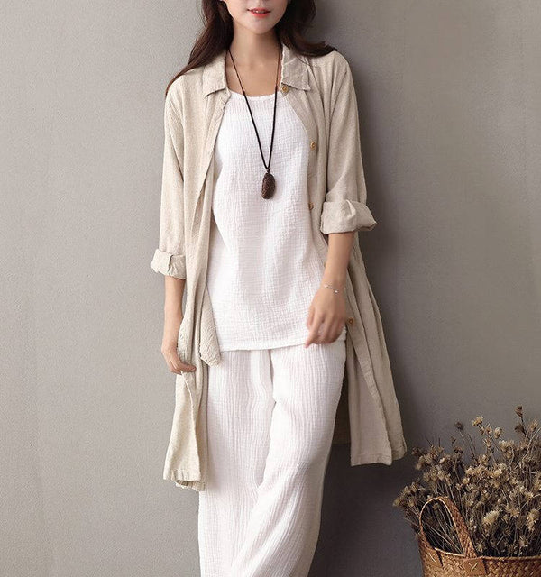 Women Leisure Tunic Style Linen and Cotton Shirt Type Coat