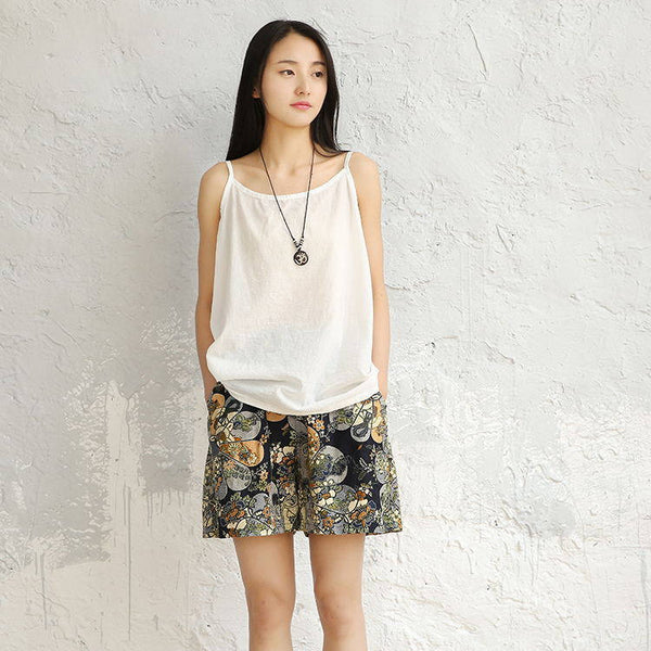 Women Printed Linen and Cotton Casual Shorts