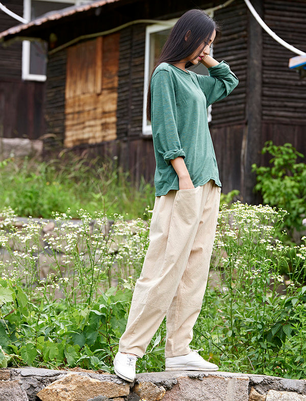 Women Casual Loose Style Linen and Cotton Pants