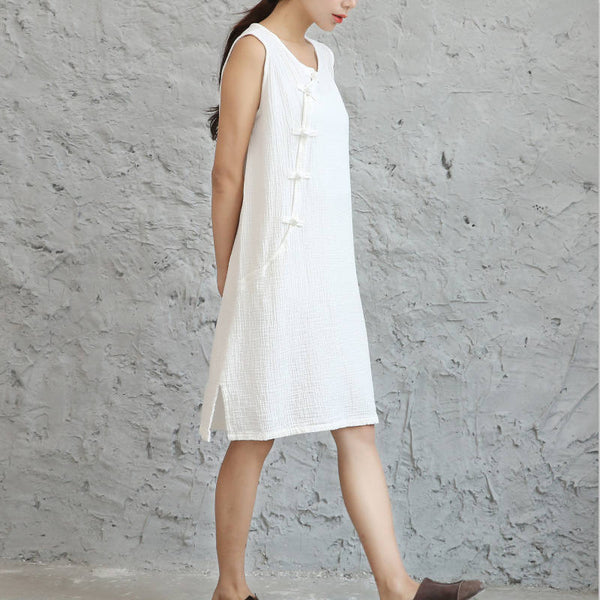 Women Retro Chinese Style Buckle Middle Long Linen and Cotton Knee Length Dress