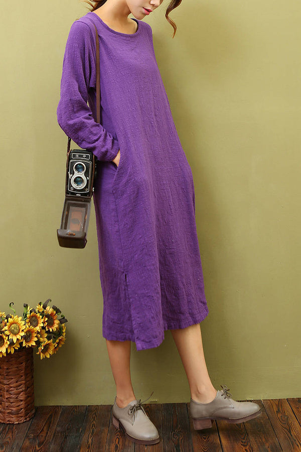 Women Cotton & Linen Loose Bracelet Sleeved Dress