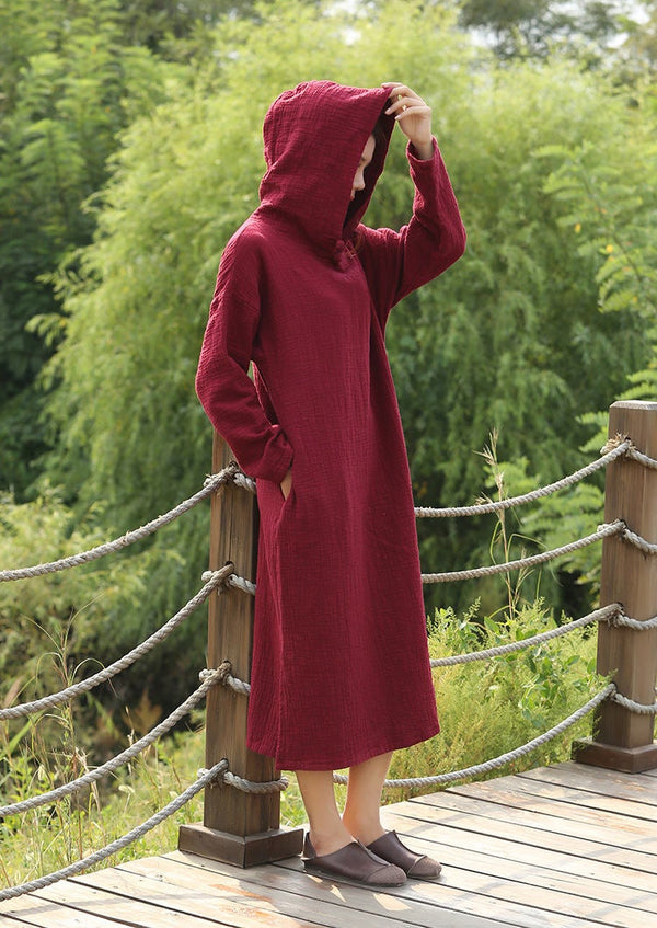Women Simple Soft Cotton & Linen Hoodie Dress