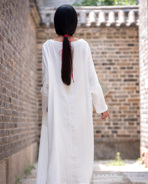 Women Asian Style Retro Long Sleeves Linen and Cotton Dress