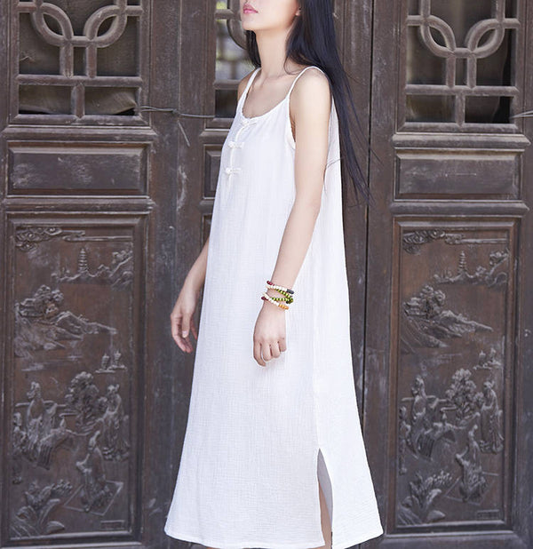 Women Cotton and Linen Retro Buckle Vest Style Skirt Dress