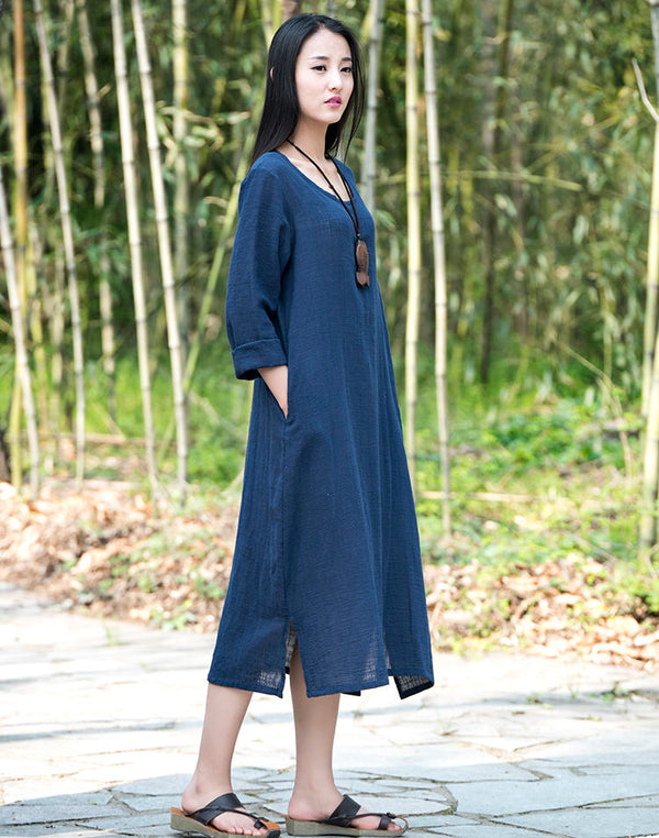 Women Simple Style Long Sleeves Cotton and Linen Dress