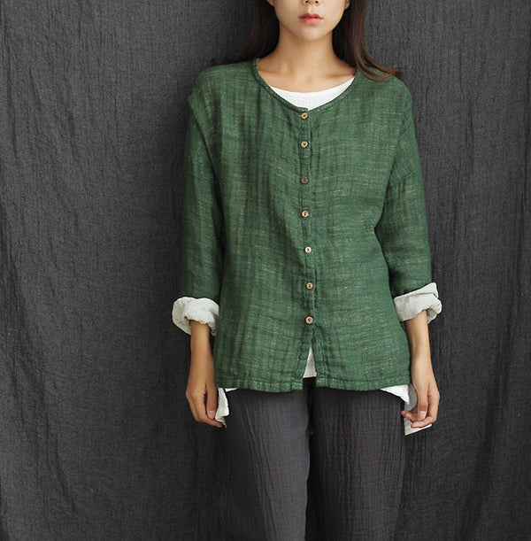 Women Loose Long-Sleeve Double-layer Linen and Cotton Cardigan Shirt
