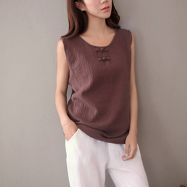 Women Chinese Style Loose Cotton and Linen Vest