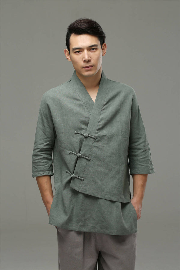 Men Casual Loose Three Buckle Asymmetrical Linen and Cotton T-shirt Tops