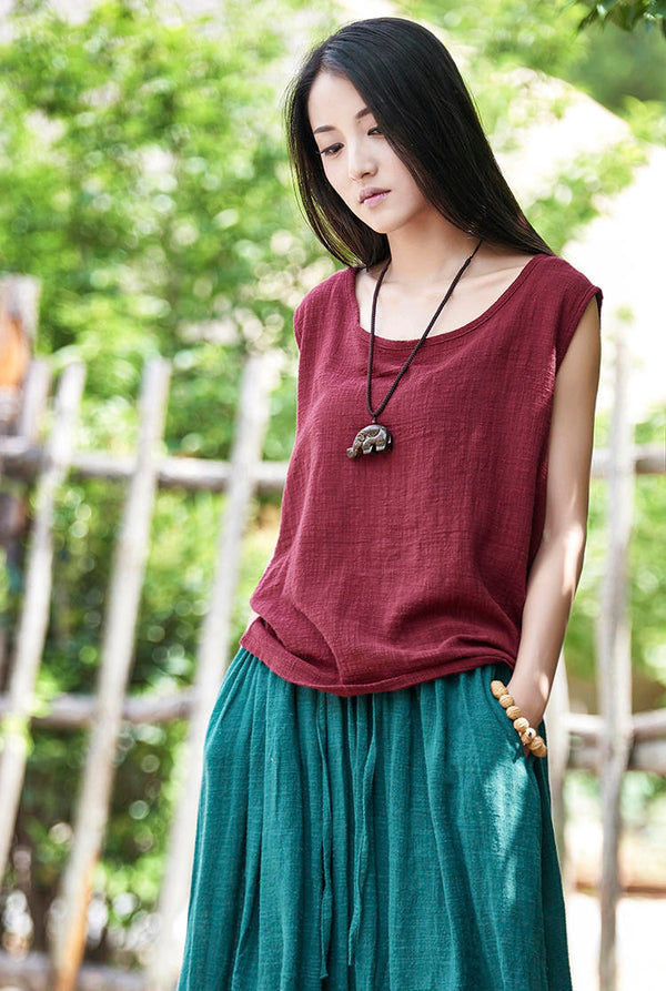Women cotton and linen Sleeveless summer thin loose vest style t-shirt