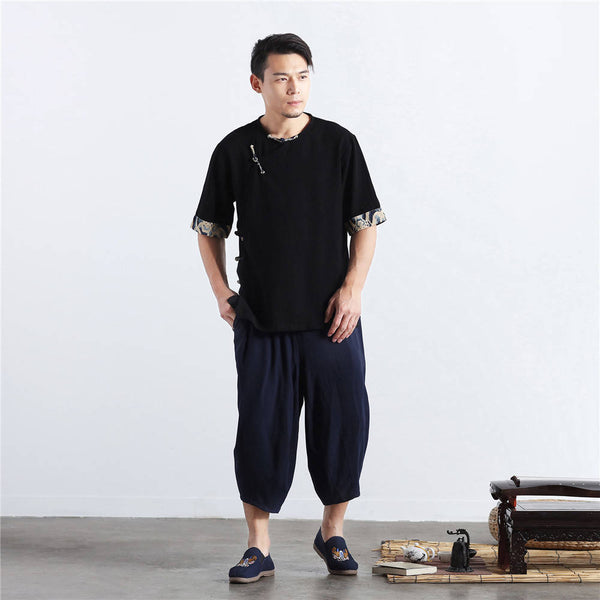 Men Chinese Folk Style Short Sleeve Linen and Cotton T-shirts Tops