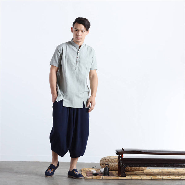 Men Chinese Style Short Sleeve Linen and Cotton T-shirt Top