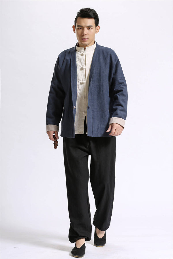 "Men ""Both Sides Wear"" Chinese Style Linen and Cotton Men's Jacket"