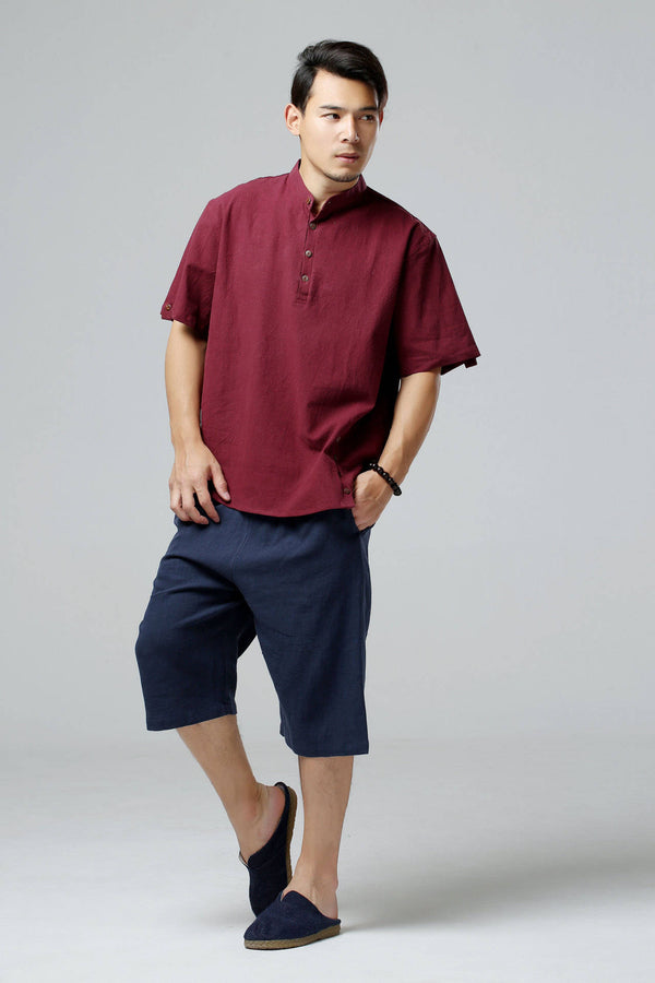 Men Causal Short Sleeved Linen and Cotton T-shirt Top