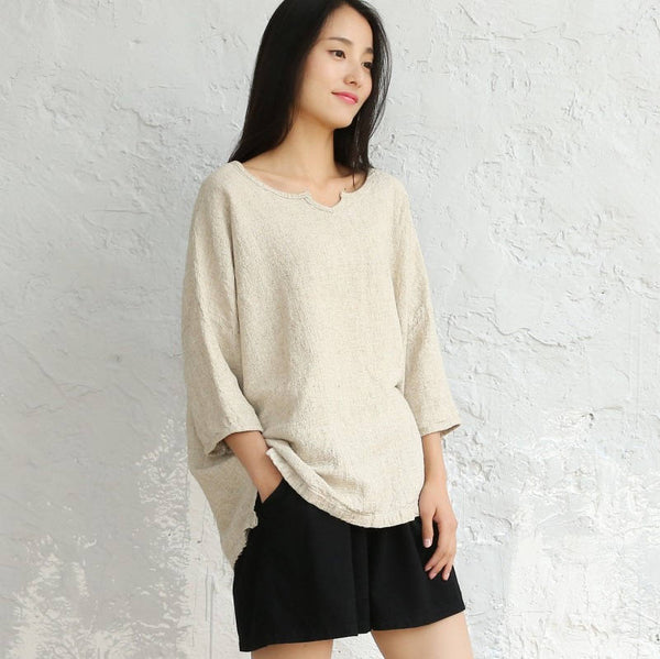 Women Loose cotton and linen V collar wild flax T-shirt