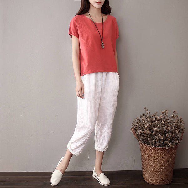 Simple Short Sleeved Women Cotton and Linen T-shirt