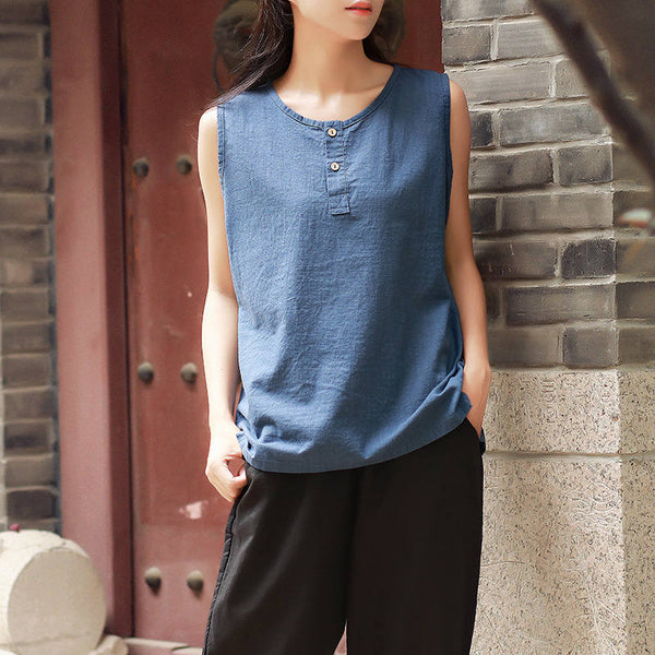 Casual Loose Women Cotton and Linen Sleeveless Blouses