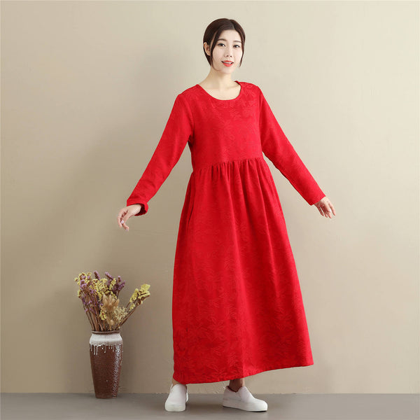 Women Asian Style Jacquard Causal Ankle Length Linen and Cotton Dress