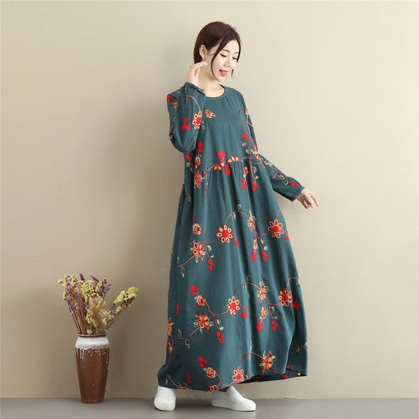 Women cotton and linen dress – Retro Loose Causal Ankle Lenght Dress