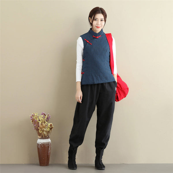 Women Retro Asian Style Quilted Linen and Cotton Vest
