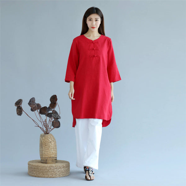Women Retro Pure Color Three-Quarter Sleeve Above Knee Dress Type Tunic
