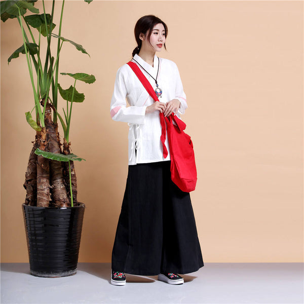 Women Chinese Traditional Style Linen and Cotton KungFu TaiChi HanFu Zen Clothes