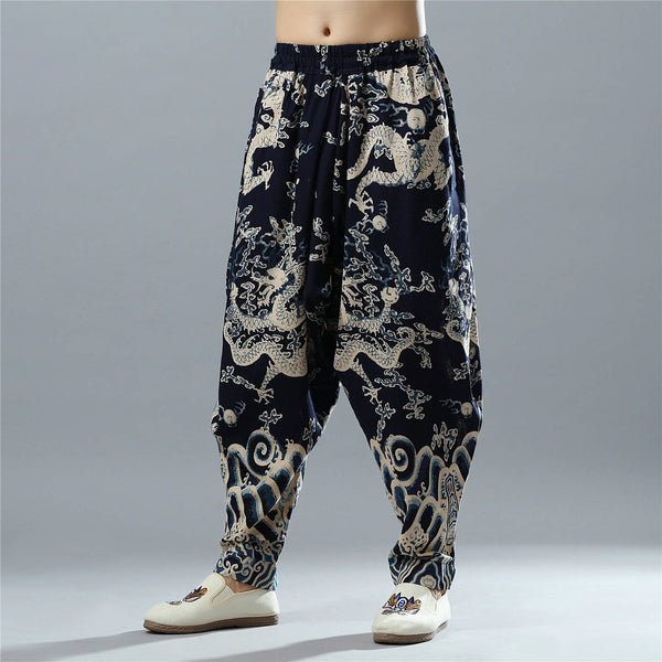 Men Loose Chinese Dragon Printed Cotton and Linen Casual Hanging Crotch Pants