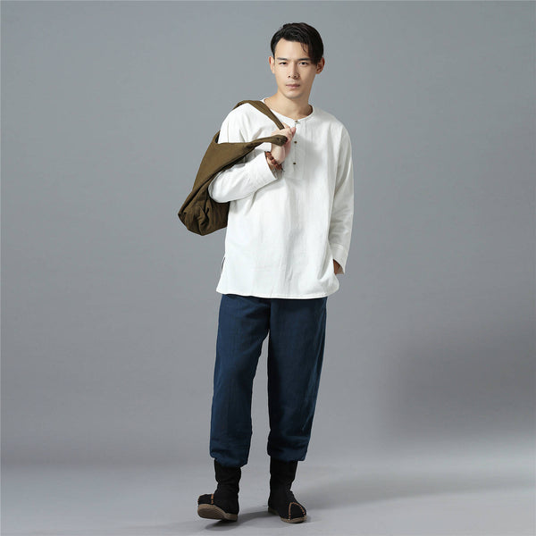 Men Causal Pure Color Cotton and Linen KungFu Jogger Pants