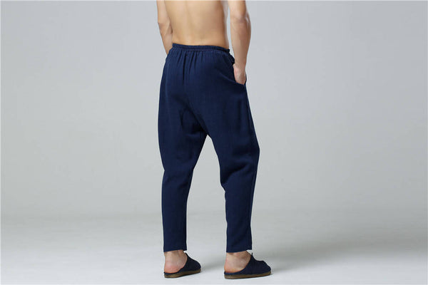 Men Casual Pure Color Cotton and Linen Straight Type Cropped Pants