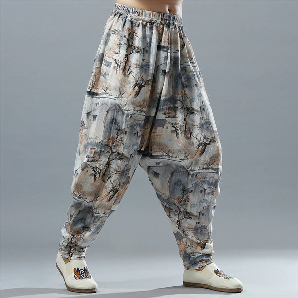 Men Casual Loose Cotton and Linen Chinese Scenery Printed Hanging Crotch Dancing Pants