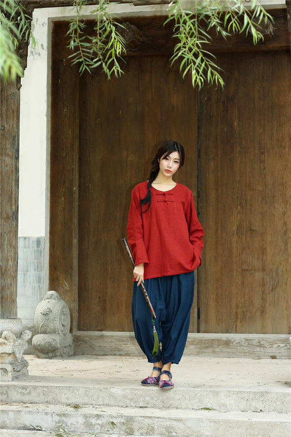 Women Chinese Traditional Style Round Neck Long Sleeve HanfFu Zen Linen and Cotton Top