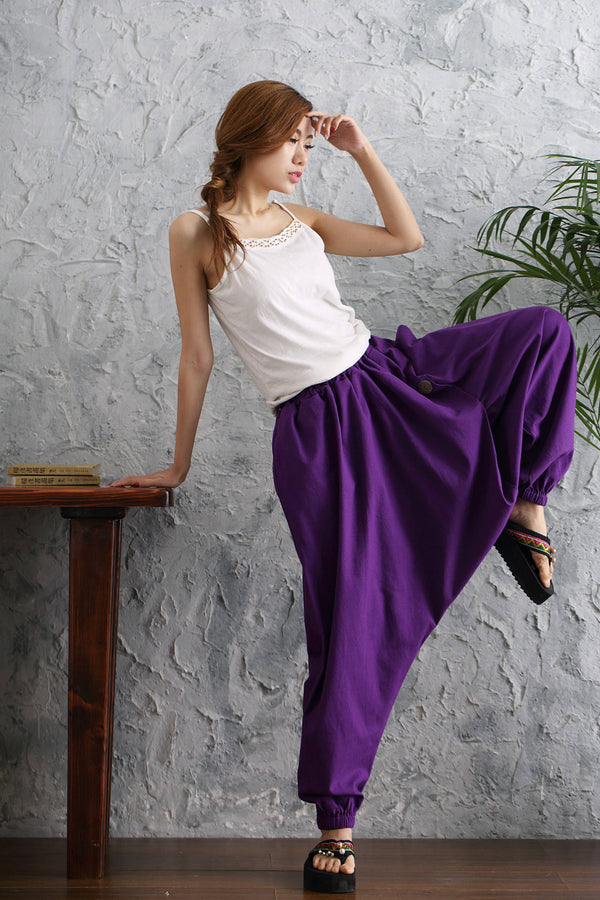Women Casual Loose Pure Color Cotton and Linen Hanging Crotch Pants