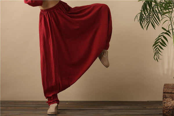 Women Pure Red Cotton and Linen Hanging Crotch Yoga Dancing Pants
