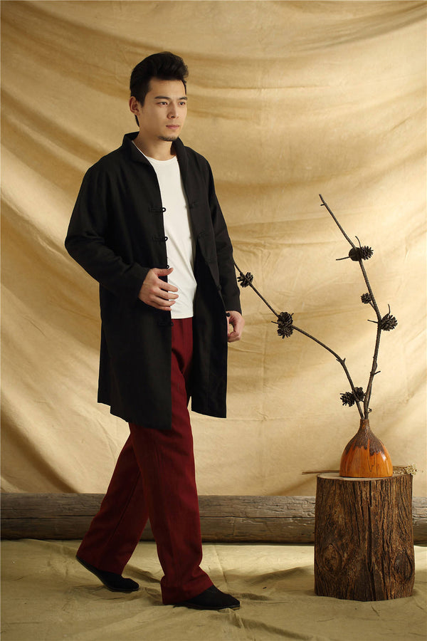 Men Chinese Traditional Kung Fu Tai Chi Hanfu Style Linen and Cotton Jacket