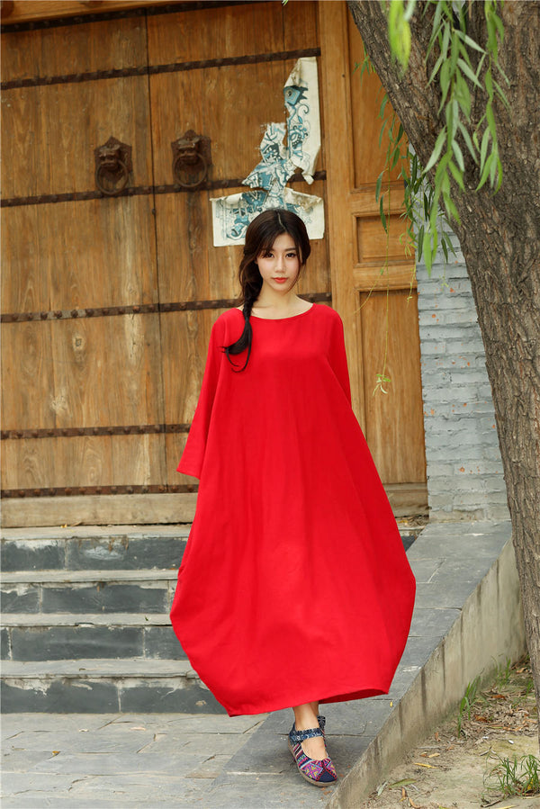 Women Eastern Style Ankle Length Butterfly Type Linen and Cotton Dress