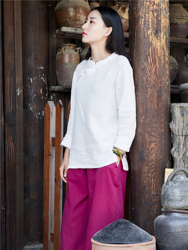 Retro Chinese Style Women cotton and linen Round neck loose long-sleeved Blouses