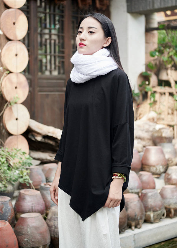 Women cotton and linen Simple Round neck loose long-sleeved T-shirt