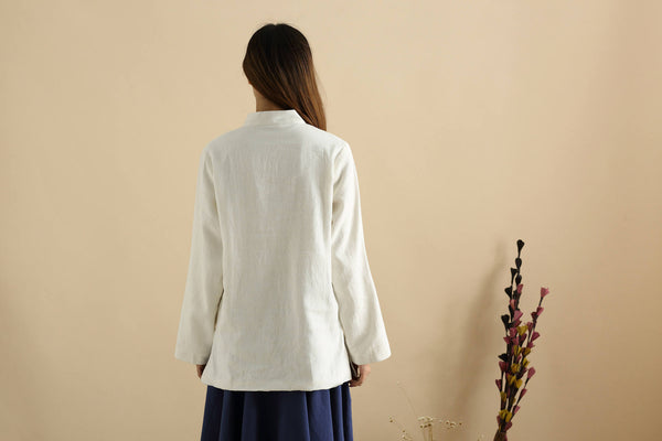 Women Chinese Traditional Style Linen and Cotton KungFu TaiChi HanFu Top