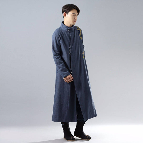 Men Eastern Naruto Style Linen and Cotton Coat (inner with velvet)