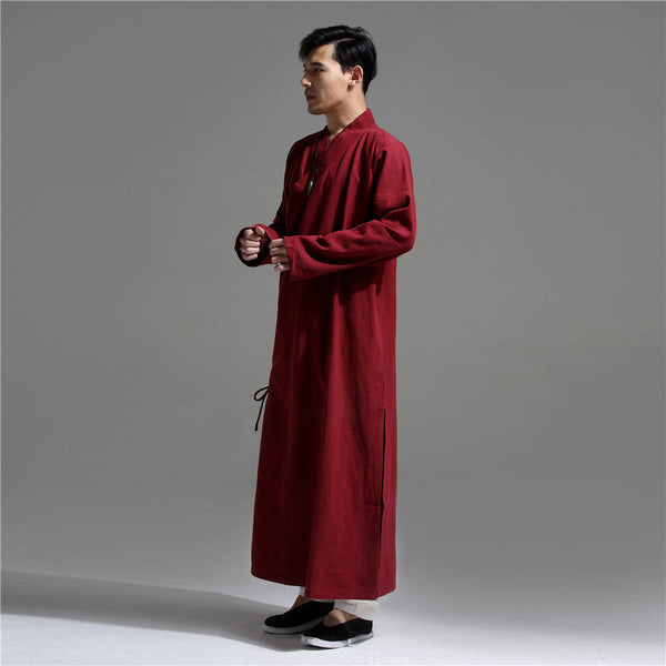 Men Asian Zen Style Long Linen and Cotton Tunics
