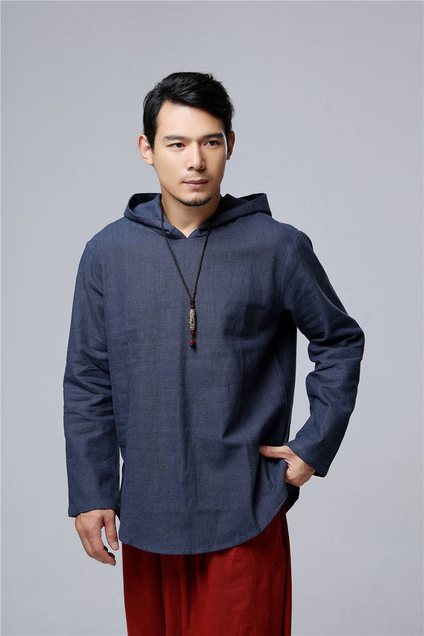 Men Simple Casual Style Pullover Linen and Cotton Sweatshirt Hoodies