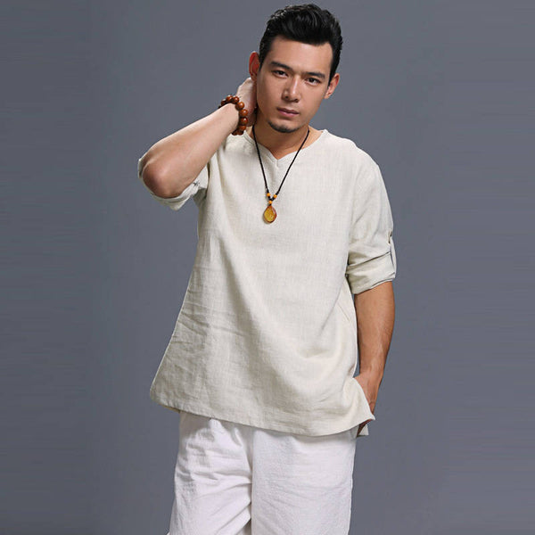 Men Loose Causal V Collar Linen and Cotton Short Sleeve T-shirt Top