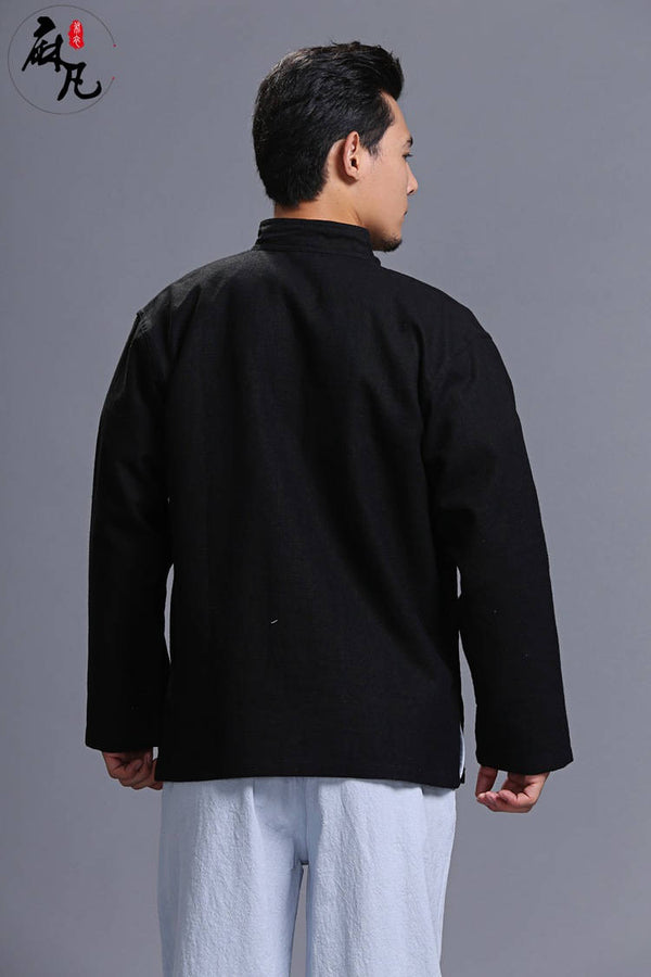 Men Linen Jacket – Retro Formal Chinese Style Linen and Cotton Men's Jacket