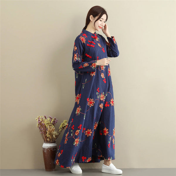 Women Linen and Cotton Chinese Style Retro Embroidered Stand Collar Buckle Ankle Length Dress