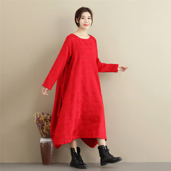 Women Lantern Skirt Style Jacquard Causal Linen and Cotton Tea Length Dress
