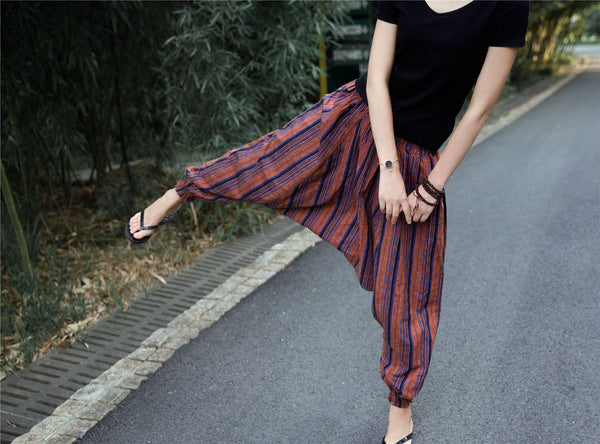 Women Loose Stripe Patterned Cotton and Linen Hanging Crotch Pants