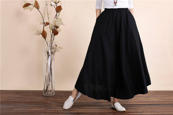 Women Retro Pure color Linen and Cotton Ankle Length Skirt