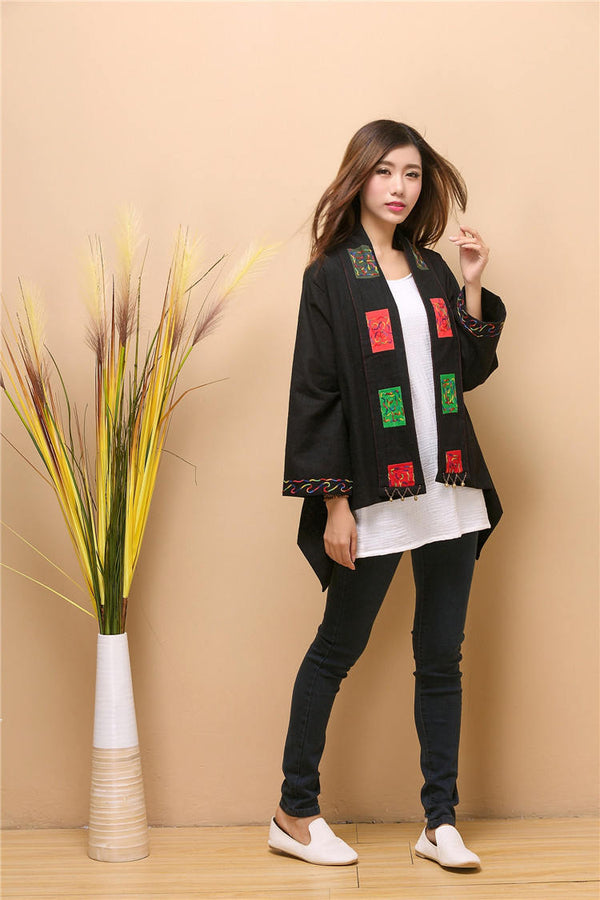 Women Asian Retro Style Linen and Cotton Poncho
